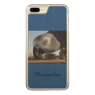 Curious Congo African Grey Parrot Carved iPhone 8 Plus/7 Plus Case