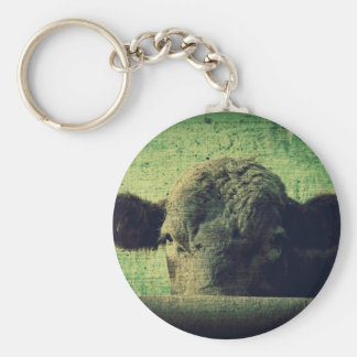 Curious Cow Basic Round Button Key Ring