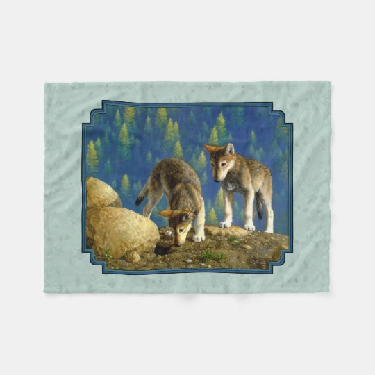 Curious Cute Baby Wolves Light Green Fleece Blanket