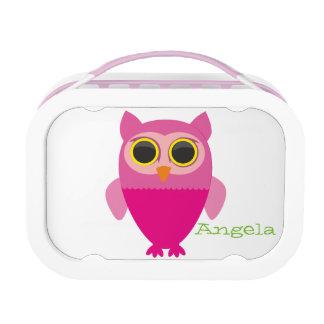 Curious cute owl girls lunchbox