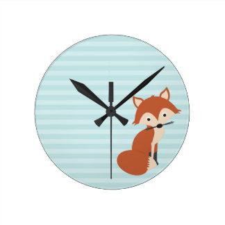 Curious Fox Round Clock