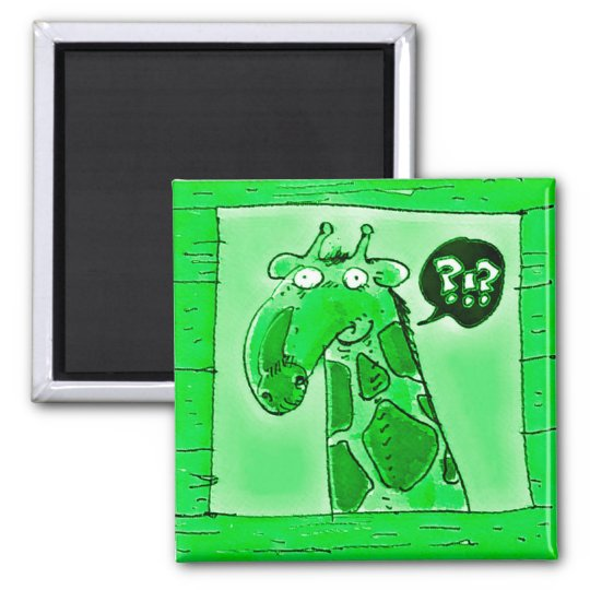 curious funny giraffe cartoon magnet