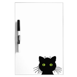 Curious Green-Eyed Black Cat Design Dry Erase Board