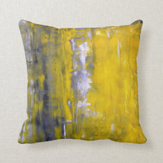 'Curious' Grey and Yellow Abstract Art Pillow Cushion