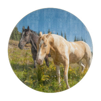 Curious horses foraging on grass cutting board