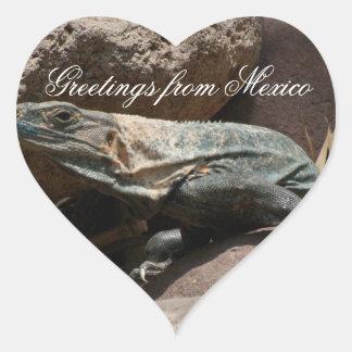 Curious Iguana; Mexico Souvenir Heart Sticker