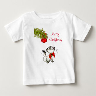 Curious Kitty Cat In A Red Christmas Bow Baby T-Shirt
