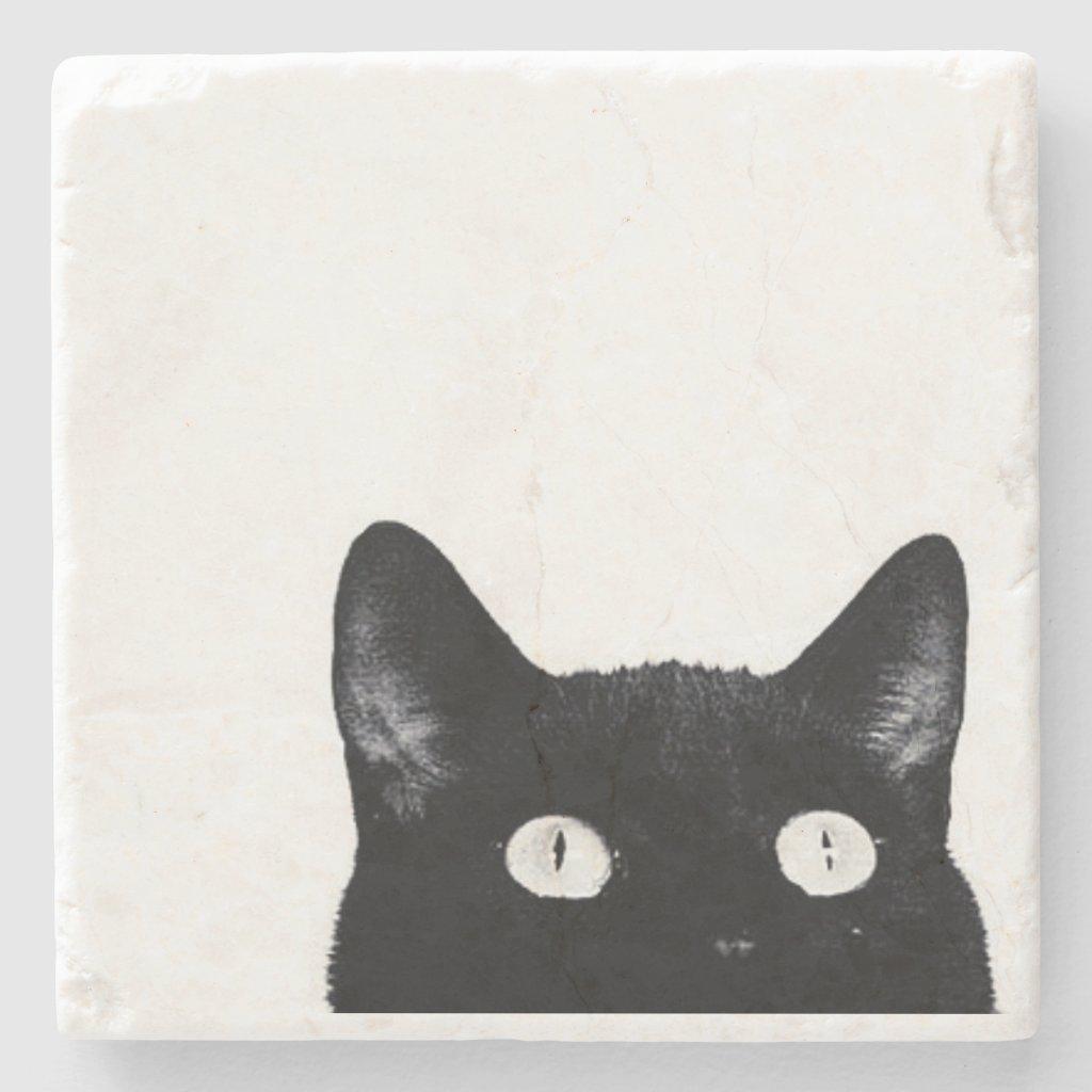 Curious Kitty - Stone Coaster