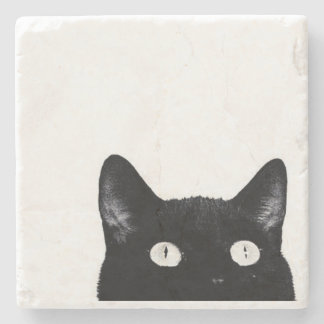Curious Kitty - Stone Coaster