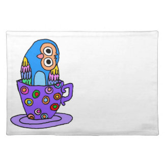 Curious Owl in a Teacup Placemats