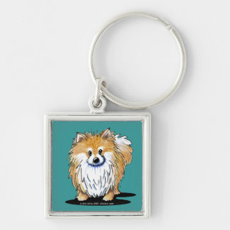Curious Pomeranian Silver-Colored Square Key Ring
