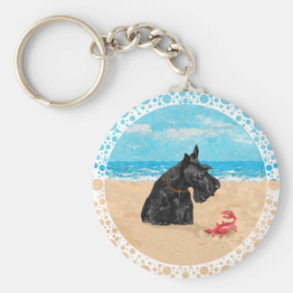 Curious Scottie at the Beach Basic Round Button Key Ring