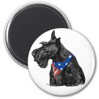 Curious Scottish Terrier Patriotic 6 Cm Round Magnet