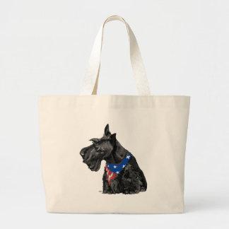 Curious Scottish Terrier Patriotic Tote Bag