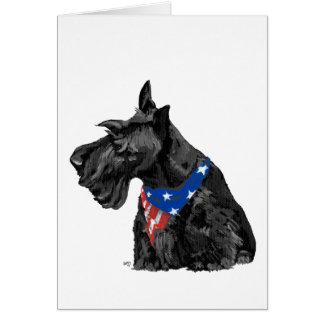 Curious Scottish Terrier Patriotic Greeting Card