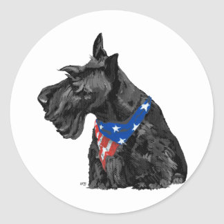 Curious Scottish Terrier Patriotic Round Sticker