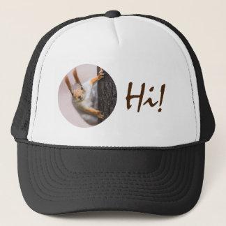 Curious squirrel trucker hat