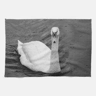 Curious swan tea towel