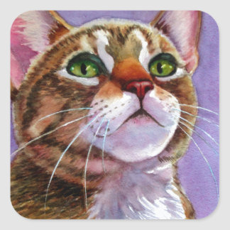 Curious Tabby Cat in Watercolor Square Sticker