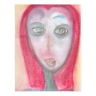 Curious Traveler, Chalk Drawing, Art Postcard