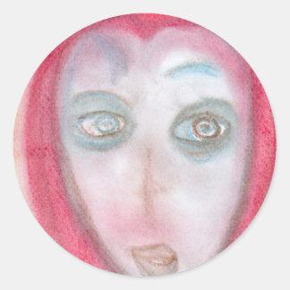 Curious Traveler, Chalk Drawing, Art Round Sticker