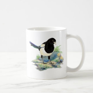 Curious Watercolor Magpie Bird Art Coffee Mug