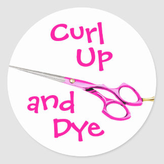 Curl, Up, and, Dye Classic Round Sticker
