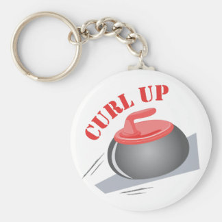 Curl Up Basic Round Button Key Ring