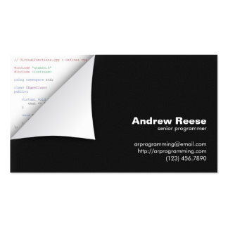 Curled Corner with Program Coding - C++ Pack Of Standard Business Cards