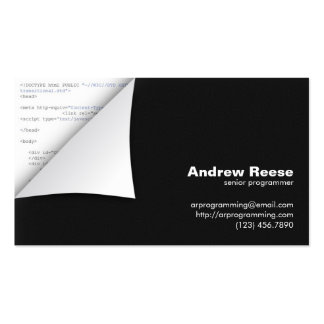 Curled Corner with Program Coding - HTML Pack Of Standard Business Cards
