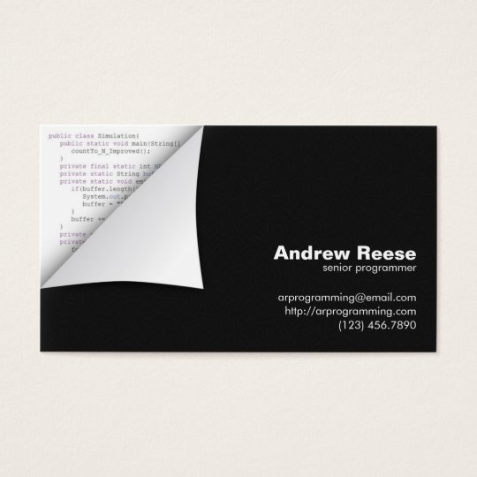 Curled Corner with Program Coding - Java Business Card