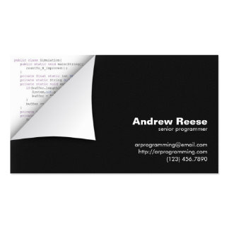 Curled Corner with Program Coding - Java Pack Of Standard Business Cards