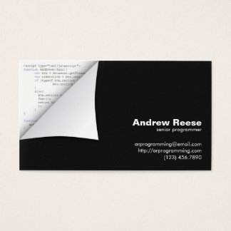 Curled Corner with Program Coding - Javascript Business Card