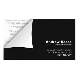 Curled Corner with Program Coding - Javascript Pack Of Standard Business Cards