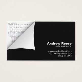 Curled Corner with Program Coding - Perl Business Card