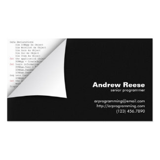 Curled Corner with Program Coding - Visual Basic Business Card