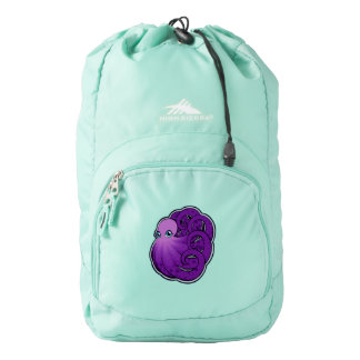 Curled Purple Spotted Octopus Ink Drawing Design Backpack