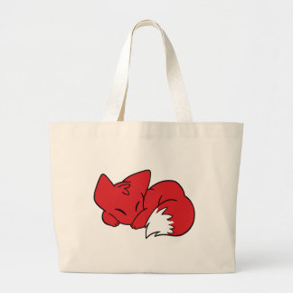 Curled Sleeping Fox Large Tote Bag