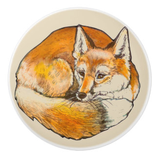 Curled Sly Red Fox Ceramic Drawer Door Pull