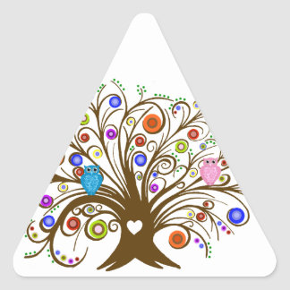 Curled Tree With Owls Triangle Sticker