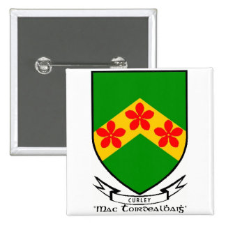 Curley surname coat of arms button/pin
