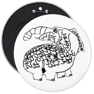 Curley The Hairy Mammoth 6 Cm Round Badge