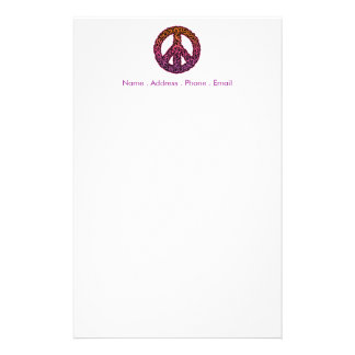 Curlicue Peace Symbol Stationery Design