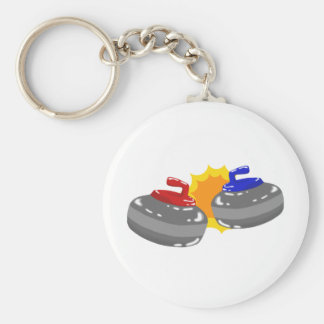 Curling Basic Round Button Key Ring