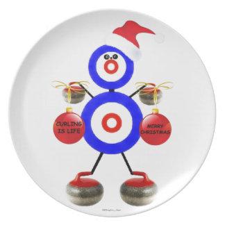 Curling Christmas Cartoon Dinner Plates