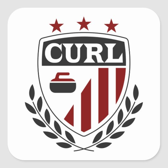 Curling Crest Stickers