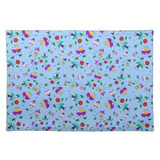 Curling Flower Design - Sky Blue Placemat