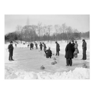 Curling in Central Park, 1906 Postcard