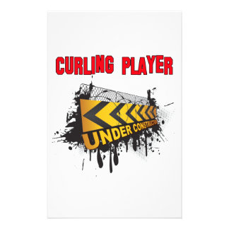 Curling Player Under Construction Stationery Design