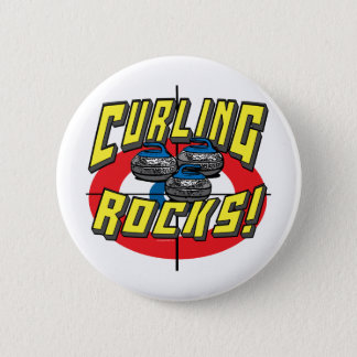 Curling Rocks Blue Stones t-shirts and Gift Ideas 6 Cm Round Badge